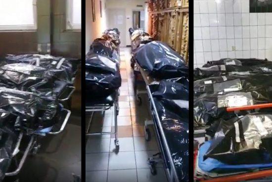 Fekete zsákokba helyezett holttestek a kórházak folyosóin